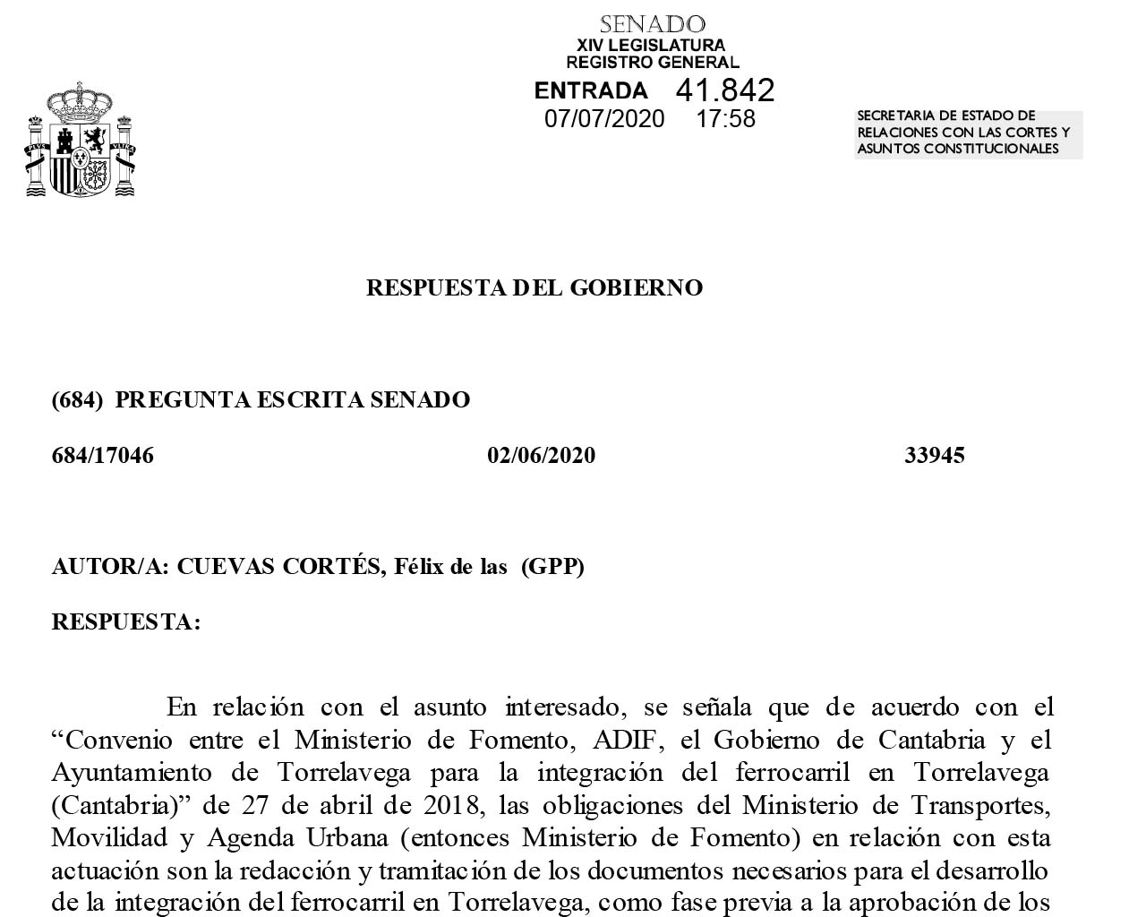 Respuesta soterramiento vías Torrelavega