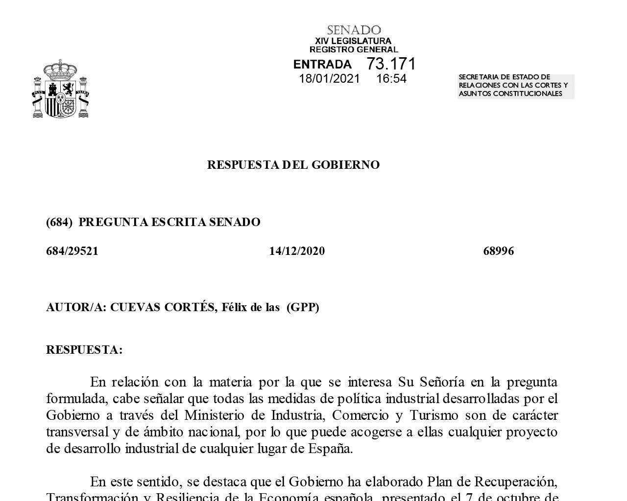 Respuesta del Gobierno de España