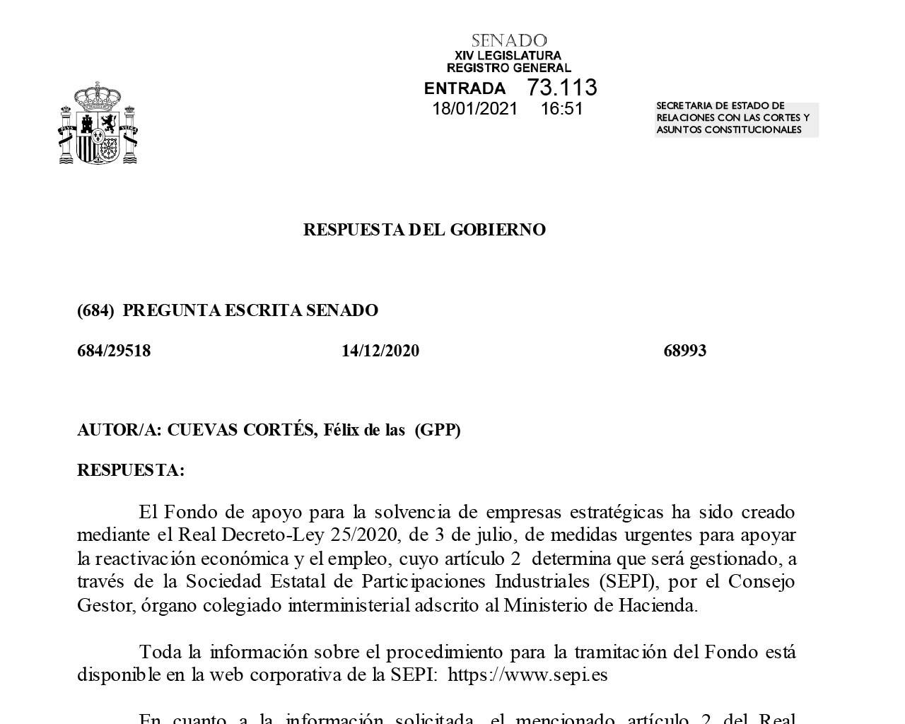 Respuesta del Gobierno de España sobre la solicitud de Celsa